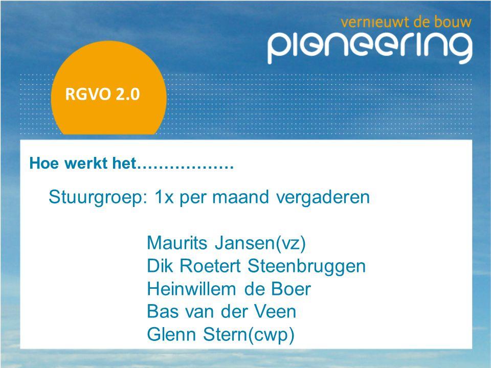 Stuurgroep: 1x per maand vergaderen Maurits Jansen(vz)