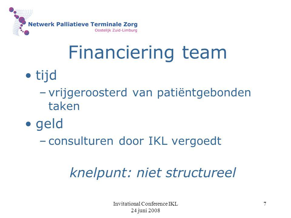 Financiering team tijd geld knelpunt: niet structureel