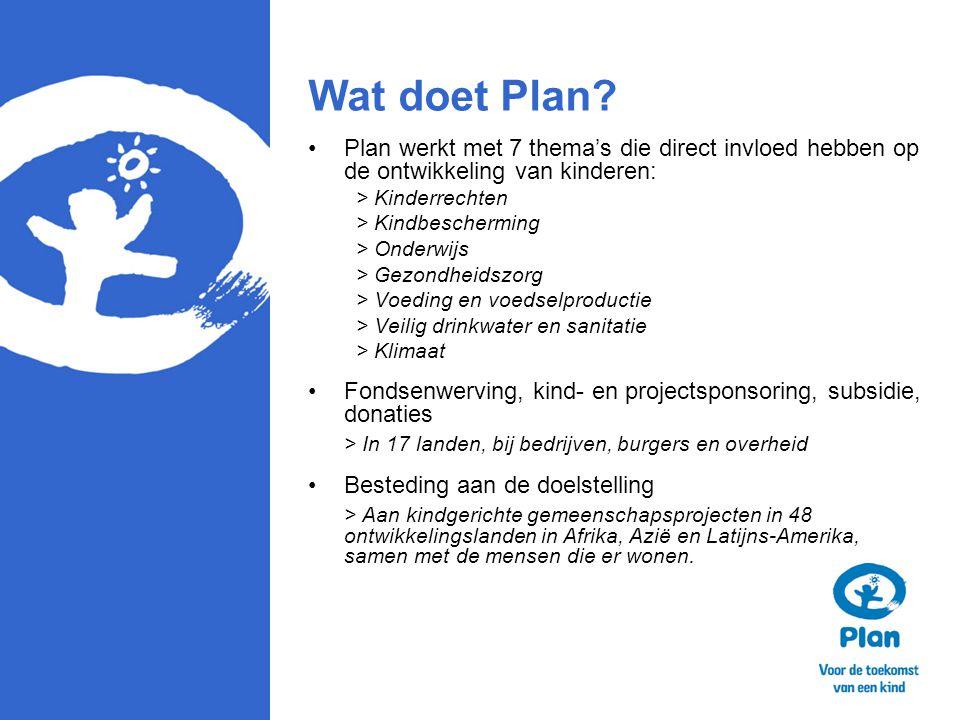 Wat doet Plan Plan werkt met 7 thema's die direct invloed hebben op de ontwikkeling van kinderen: > Kinderrechten.