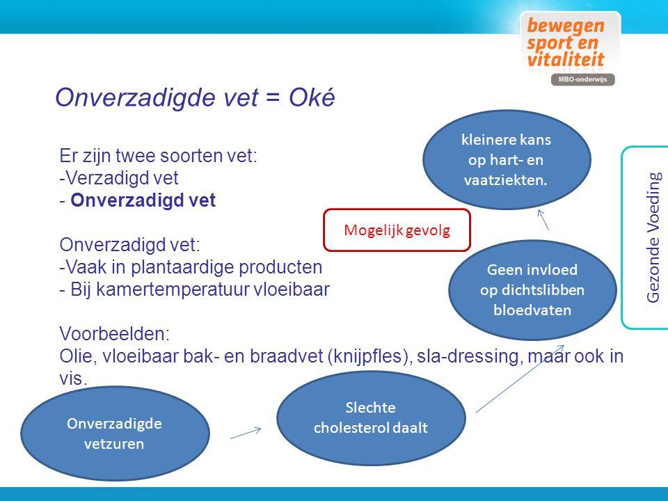 Onverzadigde vet = Oké Er zijn twee soorten vet: Verzadigd vet