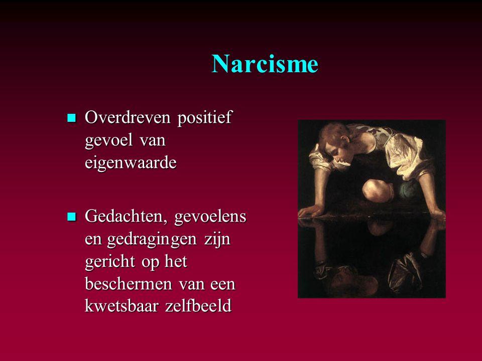 Narcisme Overdreven positief gevoel van eigenwaarde