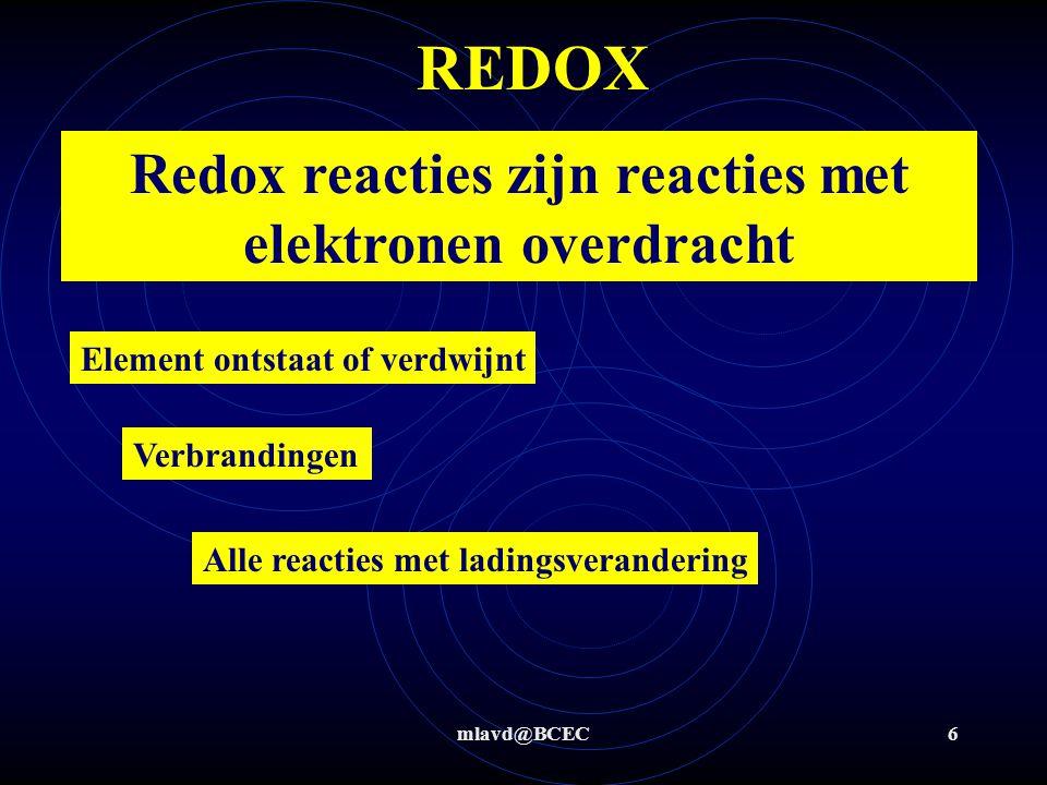 Redox reacties zijn reacties met elektronen overdracht