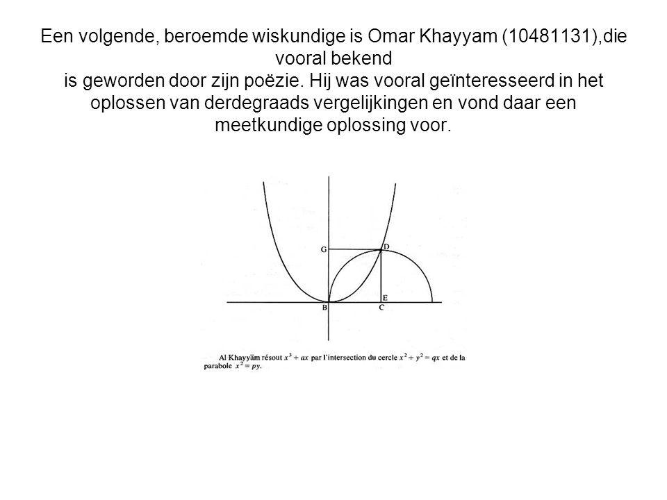 Een volgende, beroemde wiskundige is Omar Khayyam (10481131),die vooral bekend is geworden door zijn poëzie.