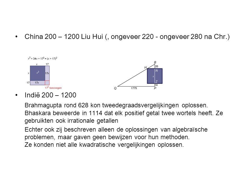 China 200 – 1200 Liu Hui (, ongeveer 220 - ongeveer 280 na Chr.)