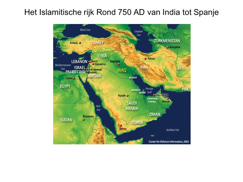 Het Islamitische rijk Rond 750 AD van India tot Spanje