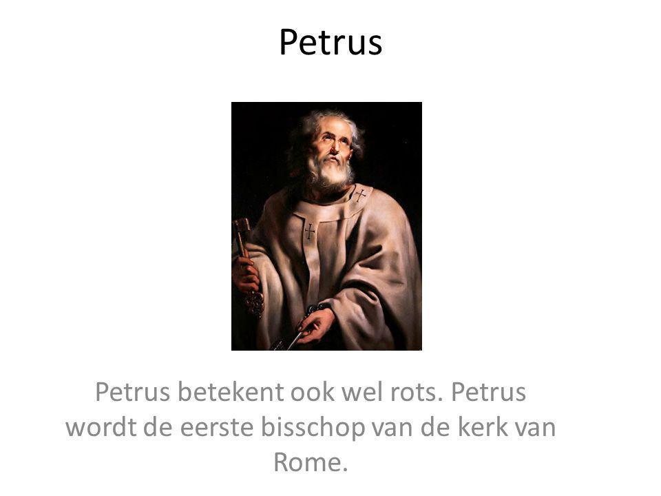 Petrus Petrus betekent ook wel rots. Petrus wordt de eerste bisschop van de kerk van Rome.