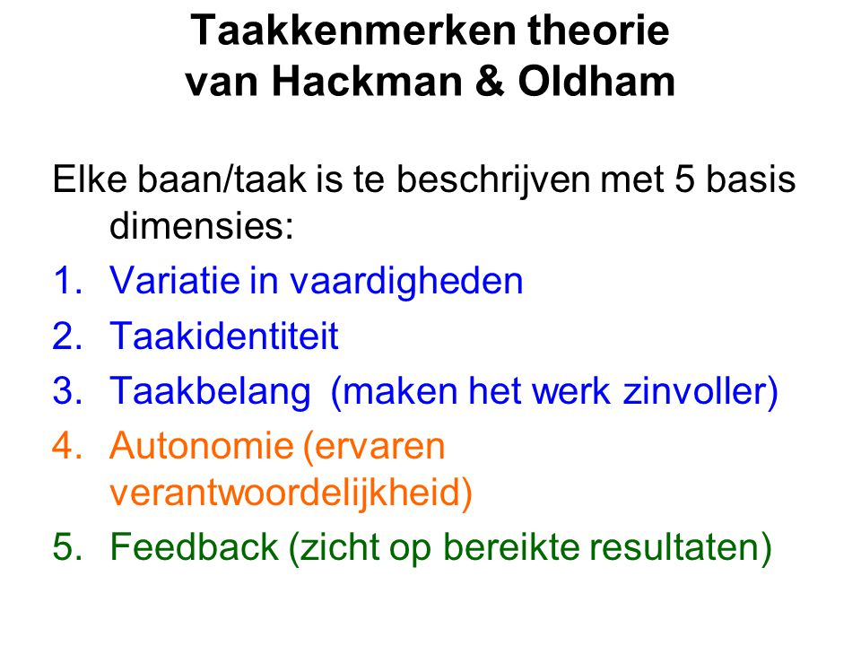 Taakkenmerken theorie van Hackman & Oldham