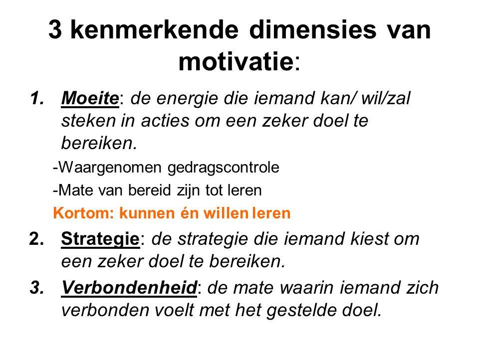 3 kenmerkende dimensies van motivatie: