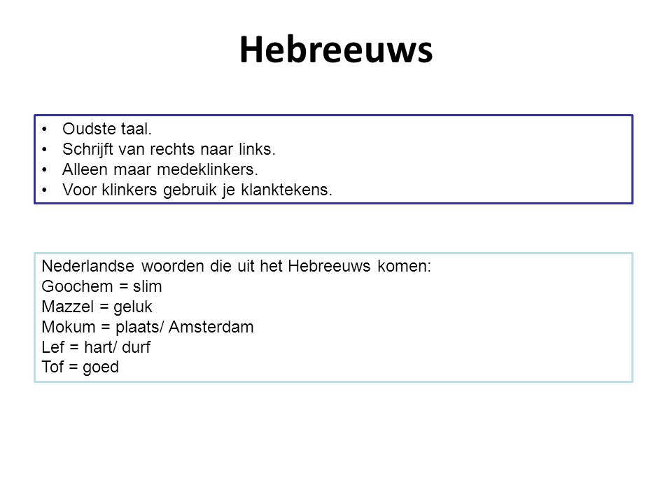 Hebreeuws Oudste taal. Schrijft van rechts naar links.
