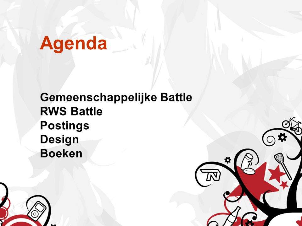 Agenda Gemeenschappelijke Battle RWS Battle Postings Design Boeken