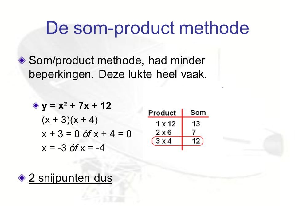 De som-product methode