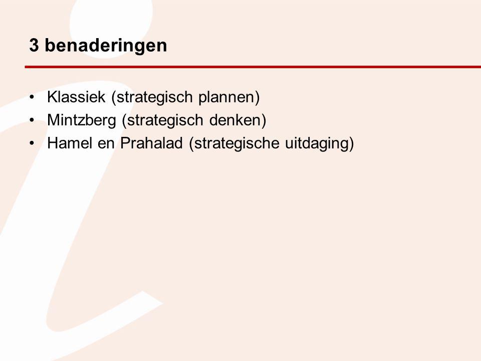 3 benaderingen Klassiek (strategisch plannen)