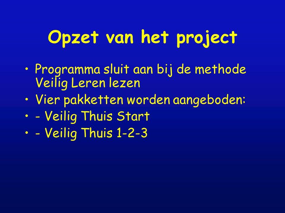 Opzet van het project Programma sluit aan bij de methode Veilig Leren lezen. Vier pakketten worden aangeboden: