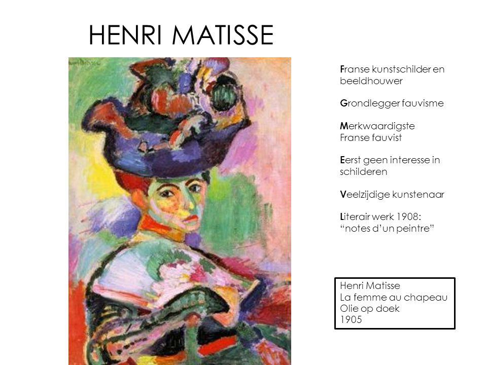 HENRI MATISSE Franse kunstschilder en beeldhouwer Grondlegger fauvisme