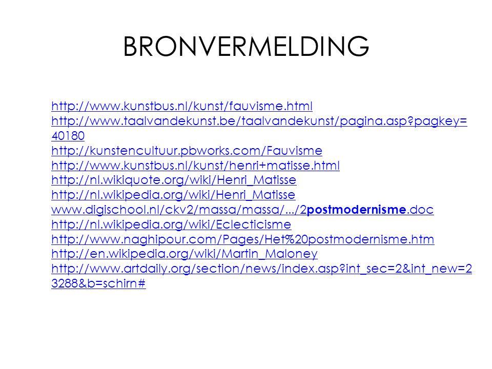 BRONVERMELDING http://www.kunstbus.nl/kunst/fauvisme.html