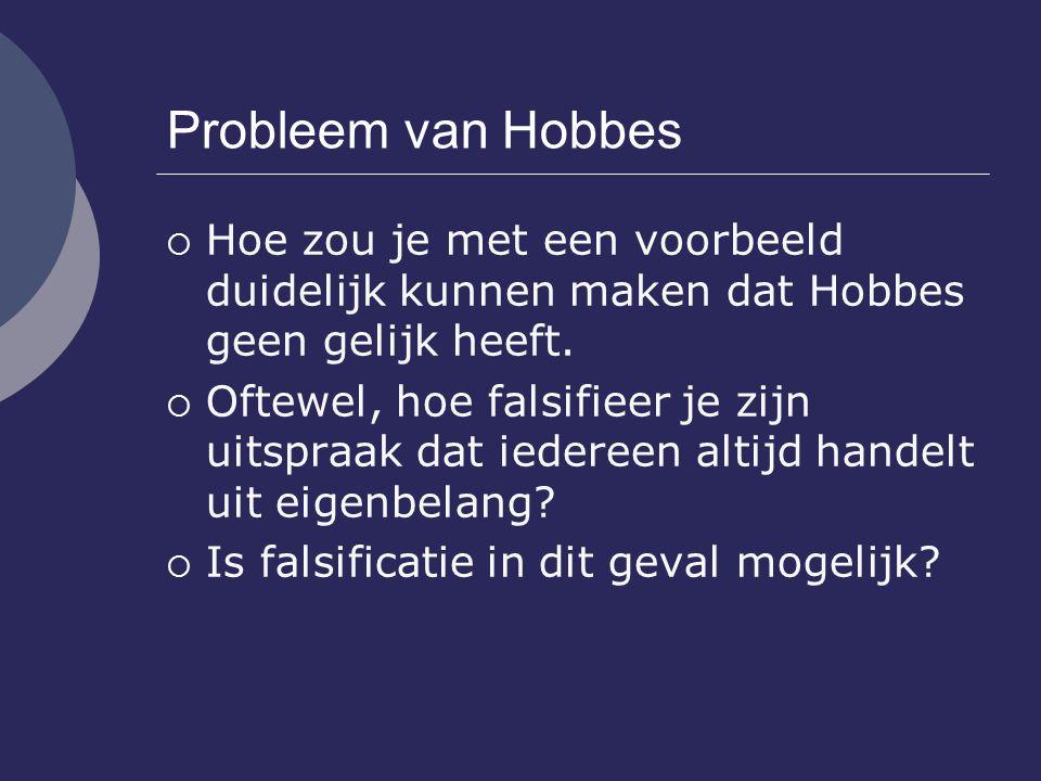 Probleem van Hobbes Hoe zou je met een voorbeeld duidelijk kunnen maken dat Hobbes geen gelijk heeft.