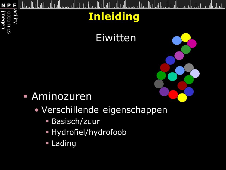Inleiding Eiwitten Aminozuren Verschillende eigenschappen Basisch/zuur