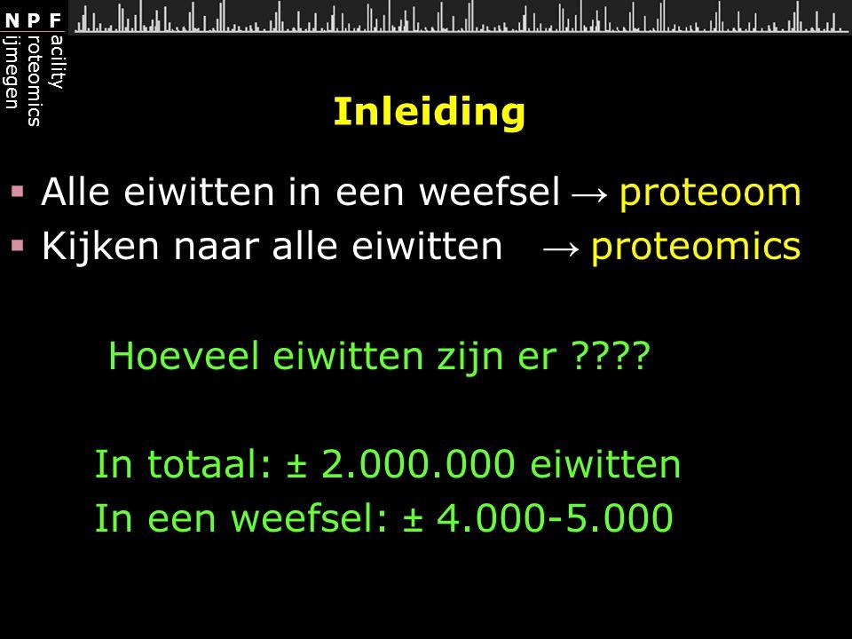 Inleiding Alle eiwitten in een weefsel → proteoom. Kijken naar alle eiwitten → proteomics. Hoeveel eiwitten zijn er