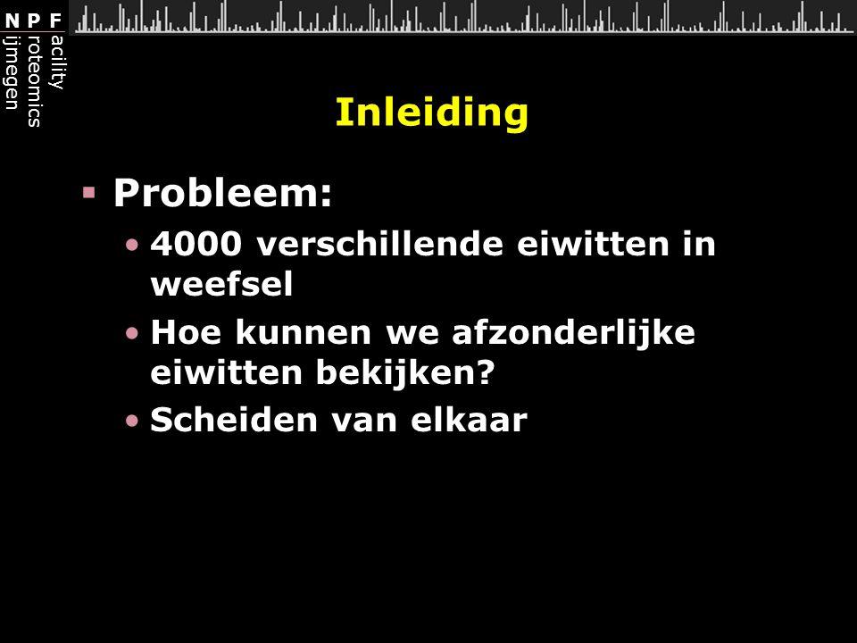 Inleiding Probleem: 4000 verschillende eiwitten in weefsel