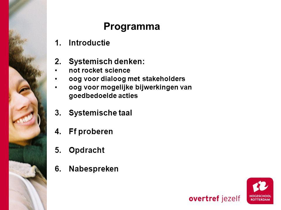 Programma Introductie 2. Systemisch denken: Systemische taal