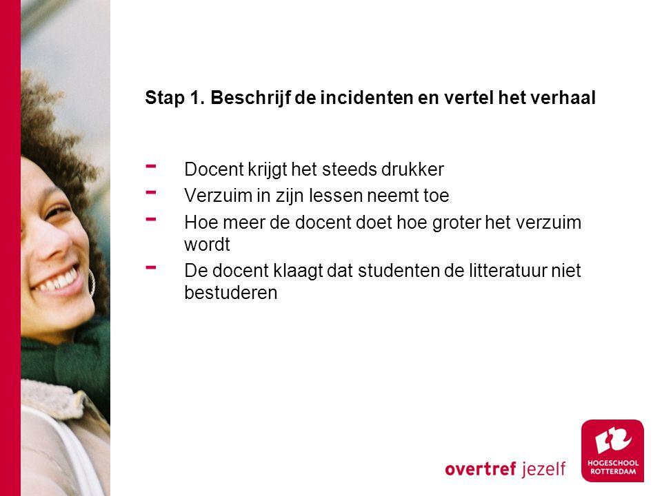 Stap 1. Beschrijf de incidenten en vertel het verhaal