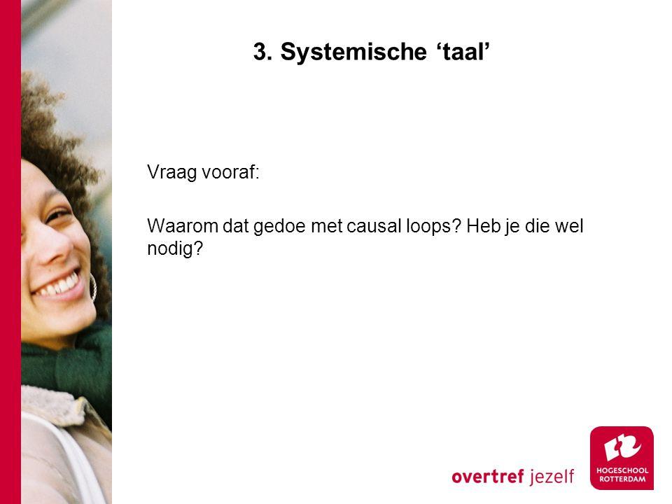3. Systemische 'taal' Vraag vooraf: Waarom dat gedoe met causal loops Heb je die wel nodig