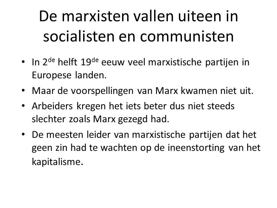 De marxisten vallen uiteen in socialisten en communisten