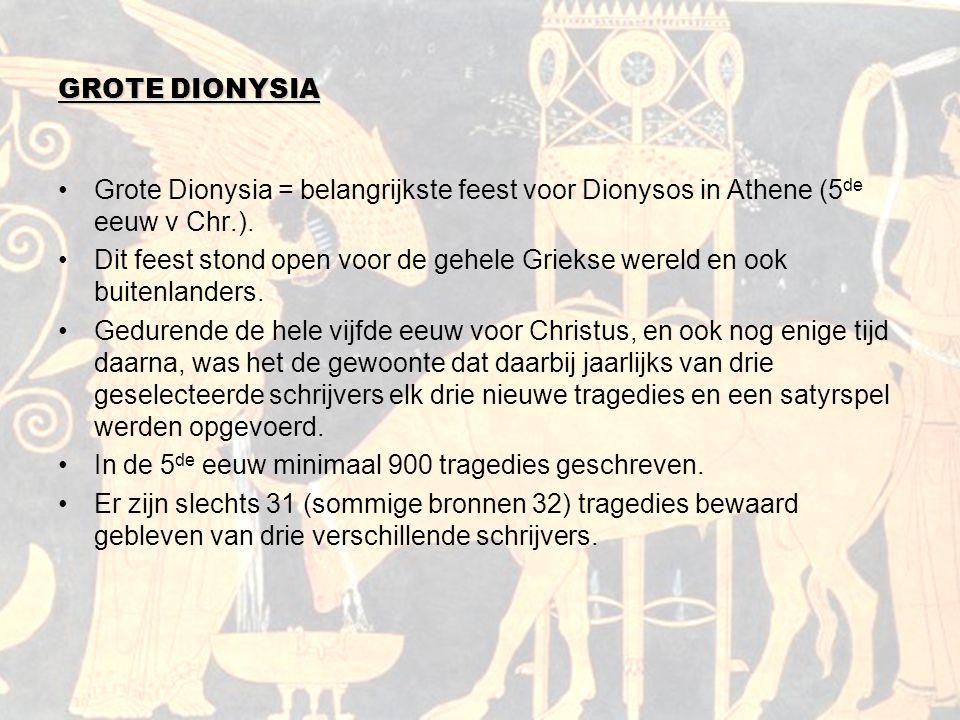 GROTE DIONYSIA Grote Dionysia = belangrijkste feest voor Dionysos in Athene (5de eeuw v Chr.).