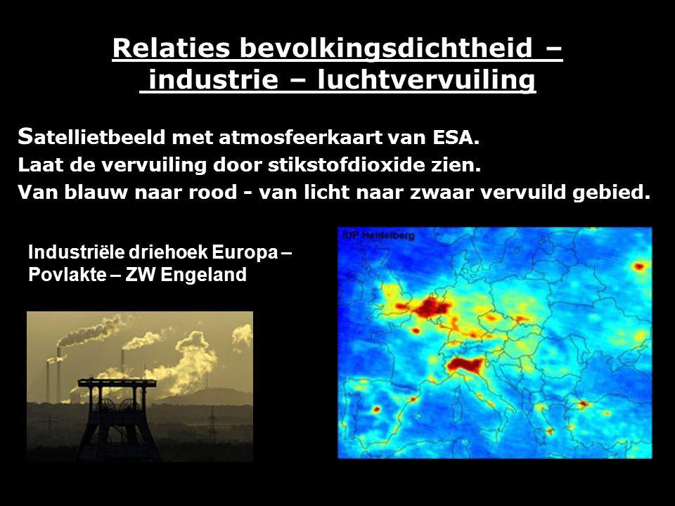 Relaties bevolkingsdichtheid – industrie – luchtvervuiling