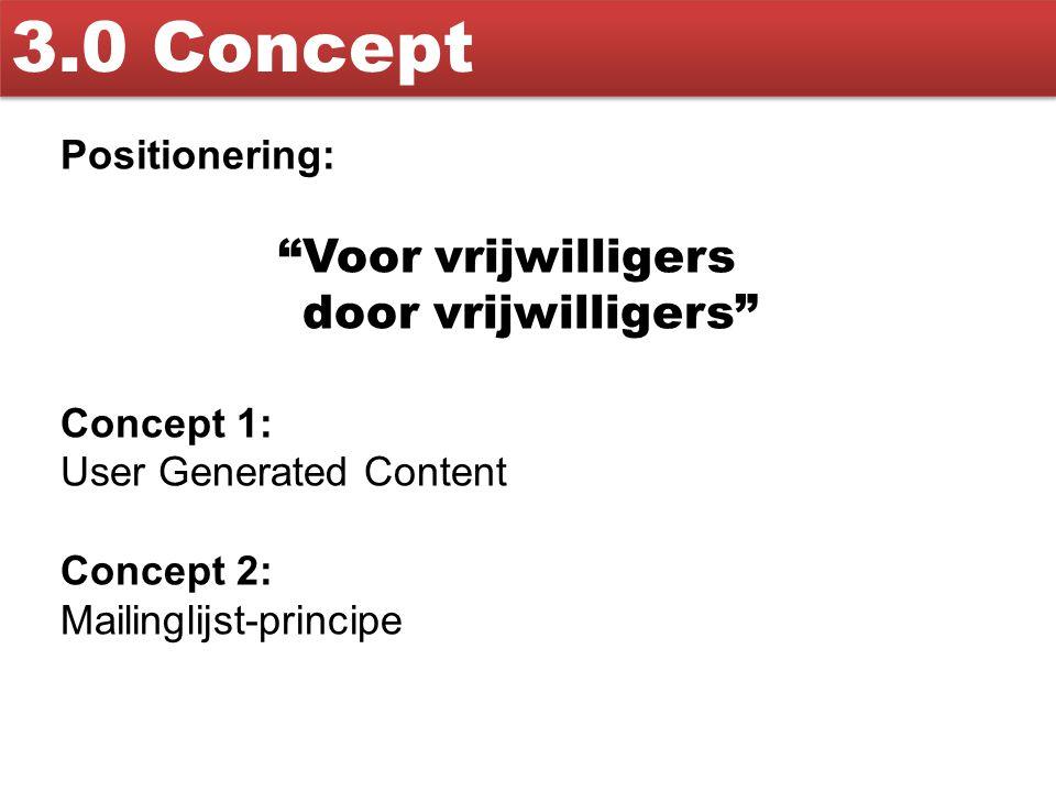 3.0 Concept Voor vrijwilligers door vrijwilligers Positionering: