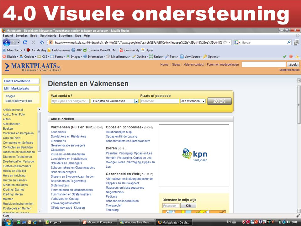 4.0 Visuele ondersteuning