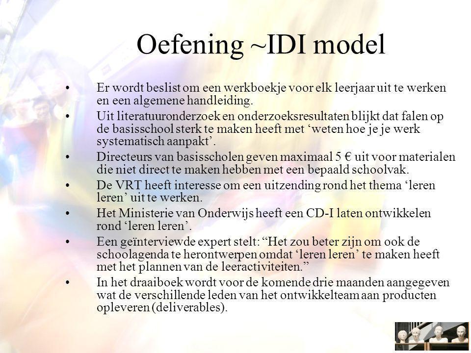 Oefening ~IDI model Er wordt beslist om een werkboekje voor elk leerjaar uit te werken en een algemene handleiding.