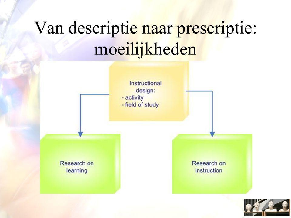 Van descriptie naar prescriptie: moeilijkheden