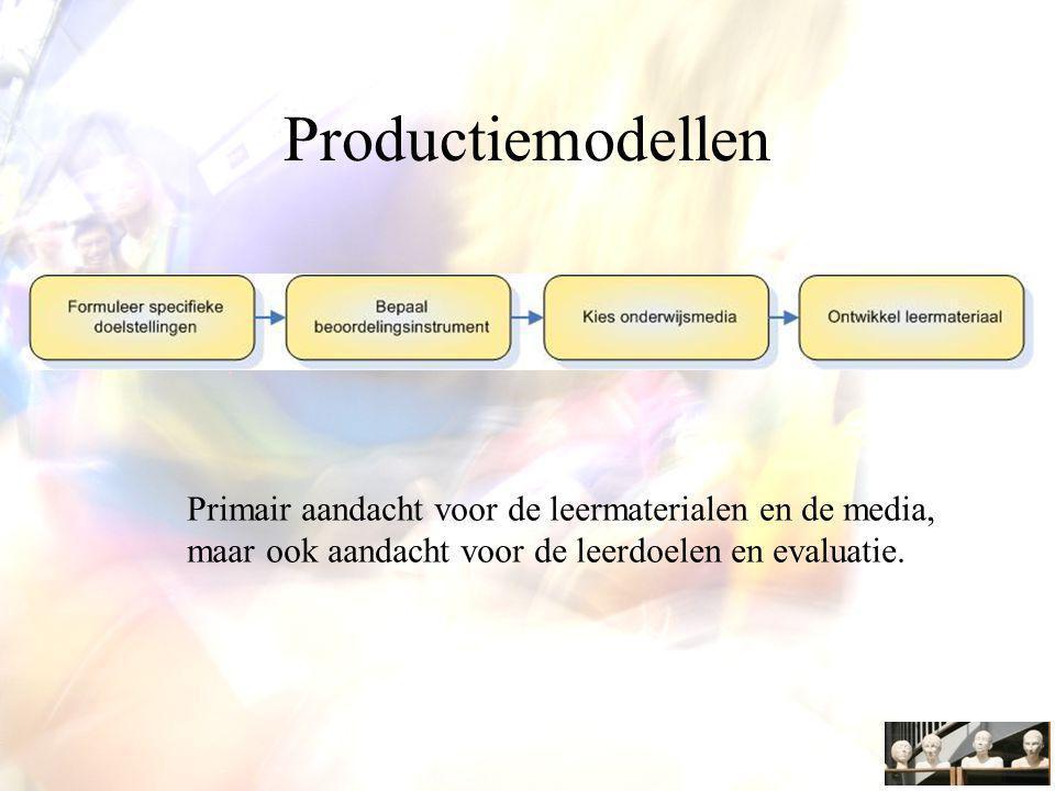 Productiemodellen Primair aandacht voor de leermaterialen en de media,