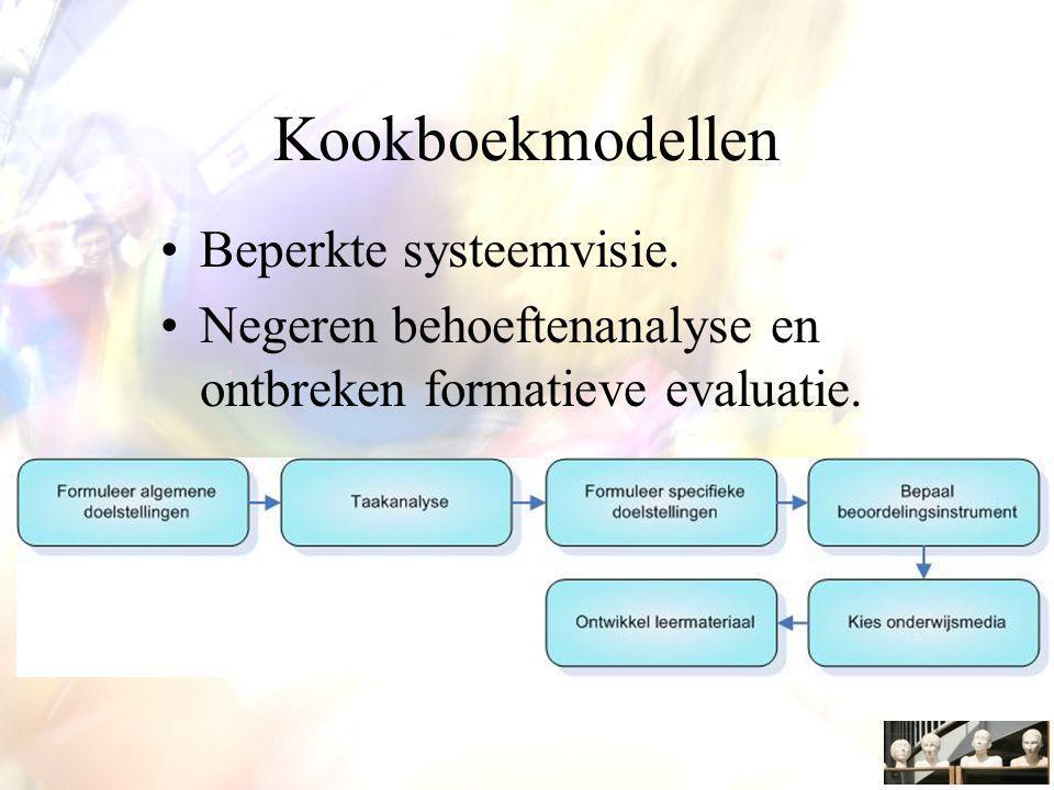 Kookboekmodellen Beperkte systeemvisie.