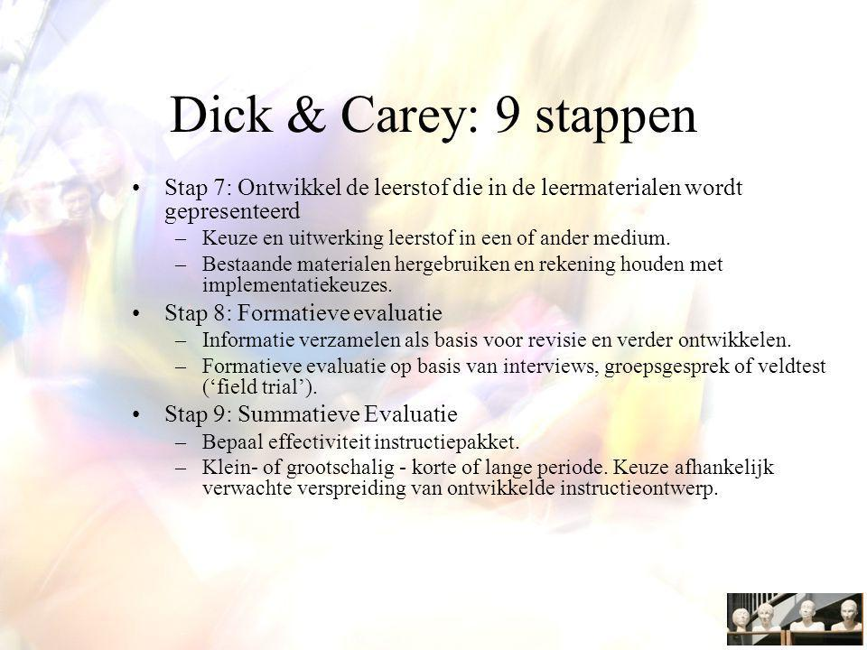 Dick & Carey: 9 stappen Stap 7: Ontwikkel de leerstof die in de leermaterialen wordt gepresenteerd.