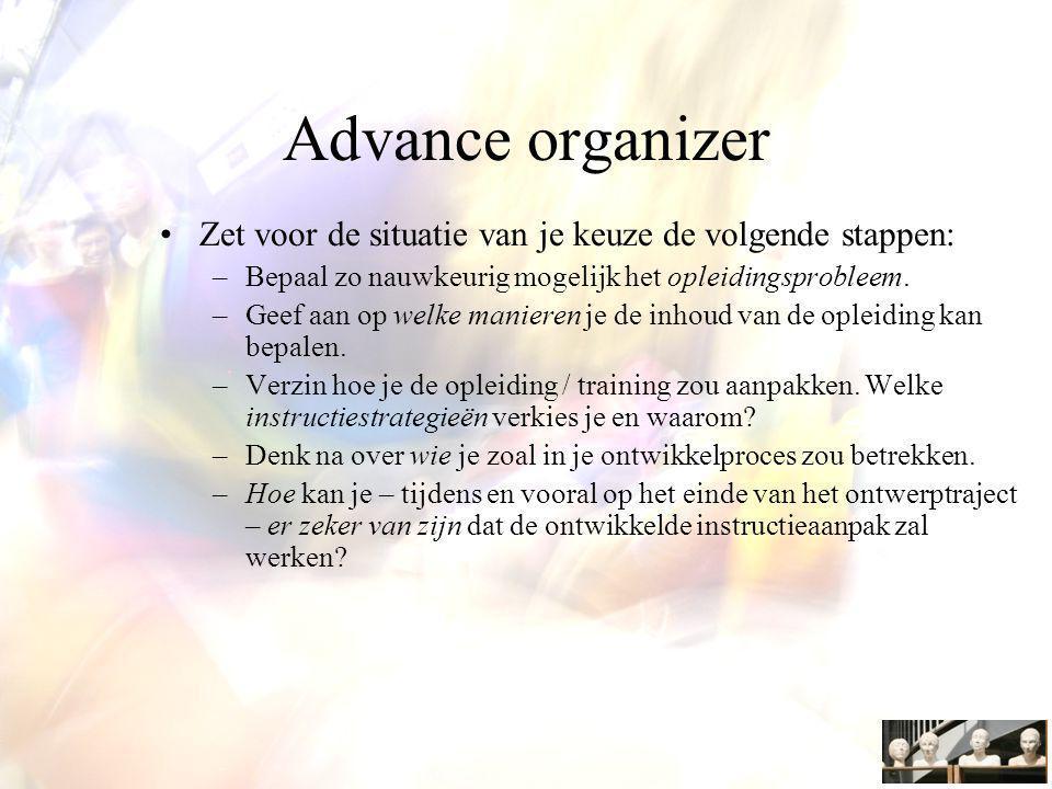 Advance organizer Zet voor de situatie van je keuze de volgende stappen: Bepaal zo nauwkeurig mogelijk het opleidingsprobleem.