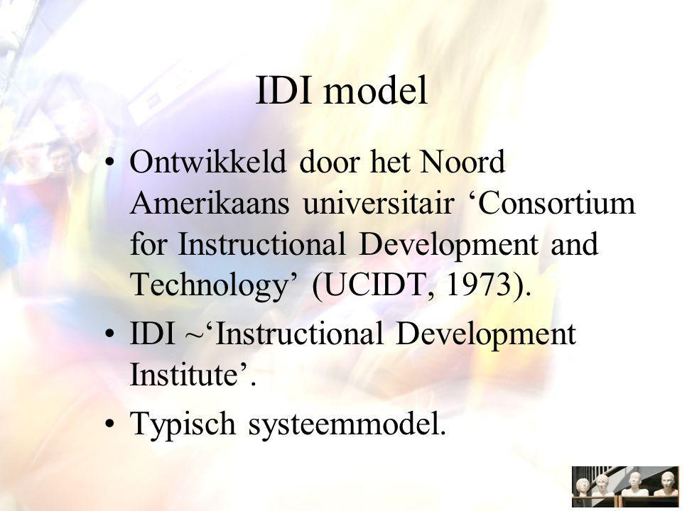 IDI model Ontwikkeld door het Noord Amerikaans universitair 'Consortium for Instructional Development and Technology' (UCIDT, 1973).