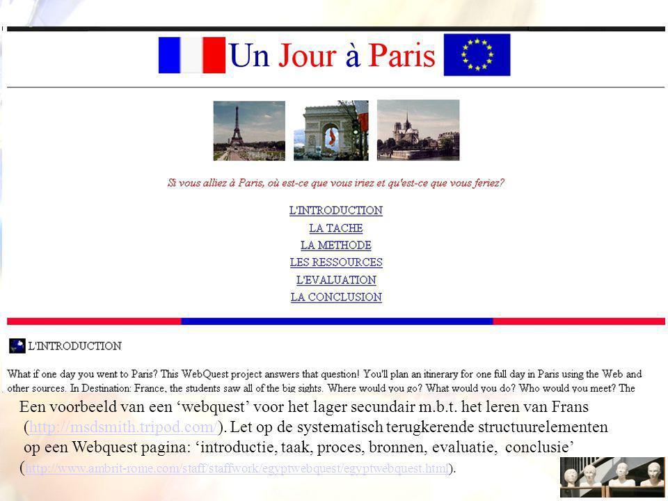 Een voorbeeld van een 'webquest' voor het lager secundair m. b. t