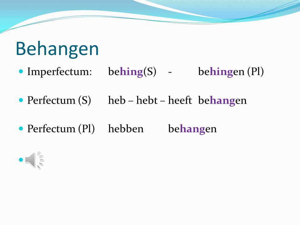 Behangen Imperfectum: behing(S) - behingen (Pl)