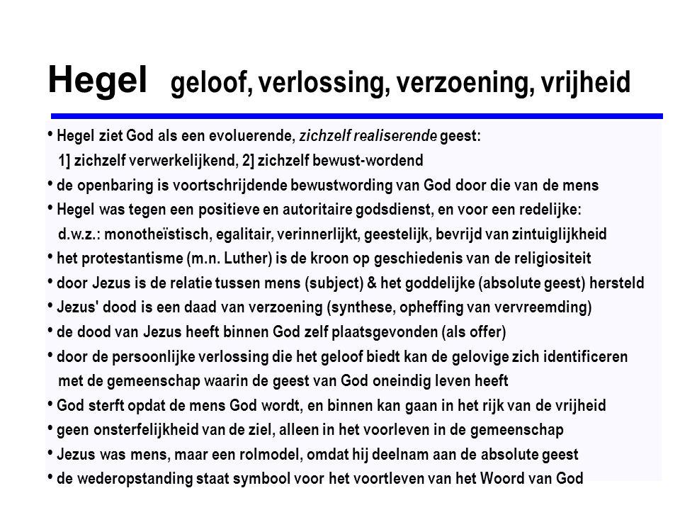 Hegel geloof, verlossing, verzoening, vrijheid