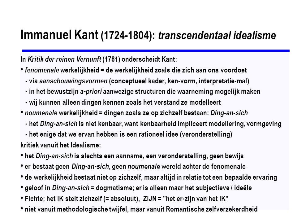 Immanuel Kant (1724-1804): transcendentaal idealisme