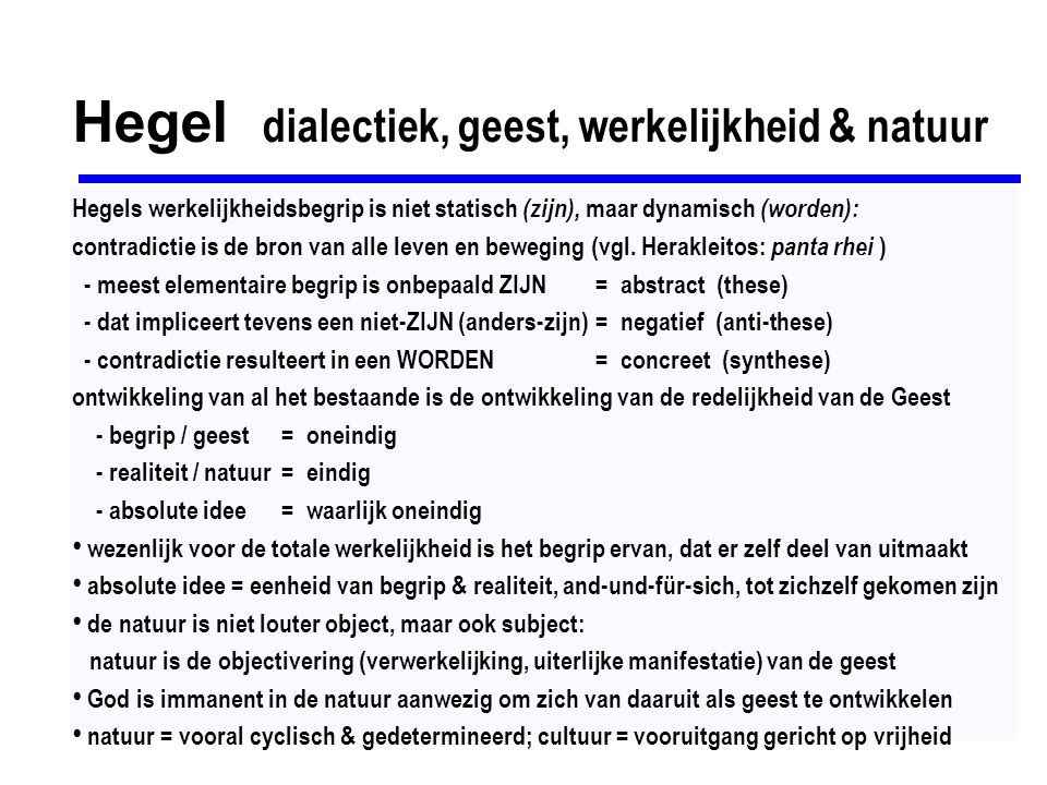 Hegel dialectiek, geest, werkelijkheid & natuur
