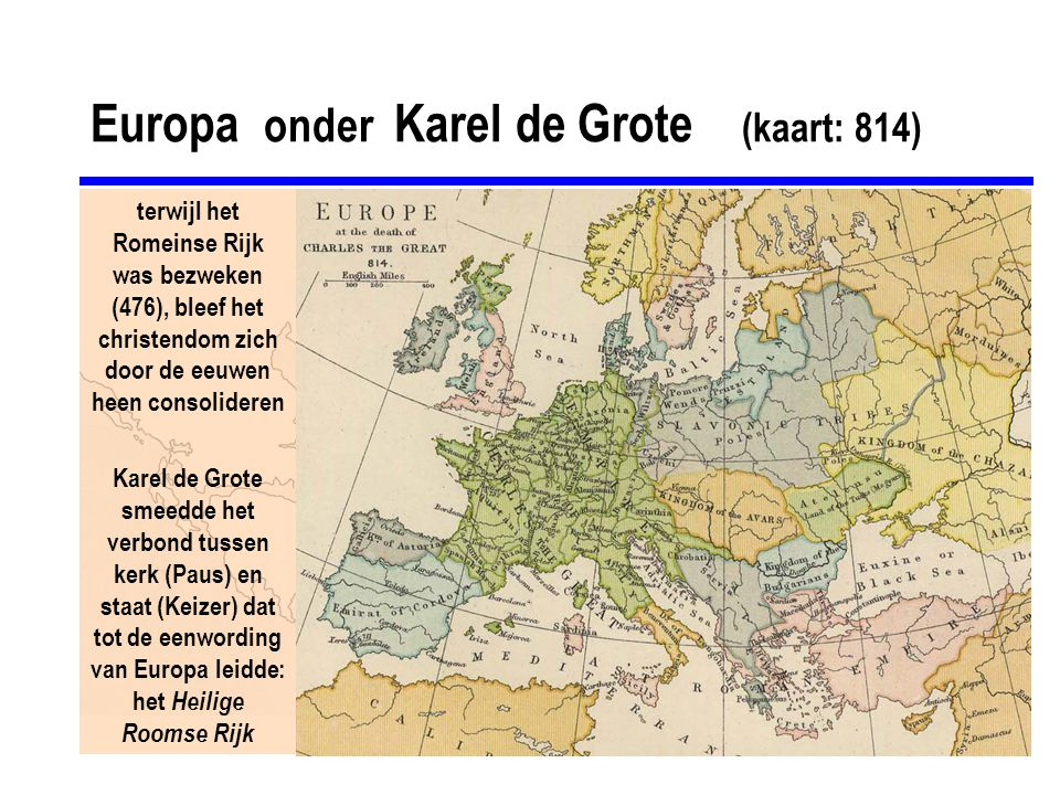Europa onder Karel de Grote (kaart: 814)