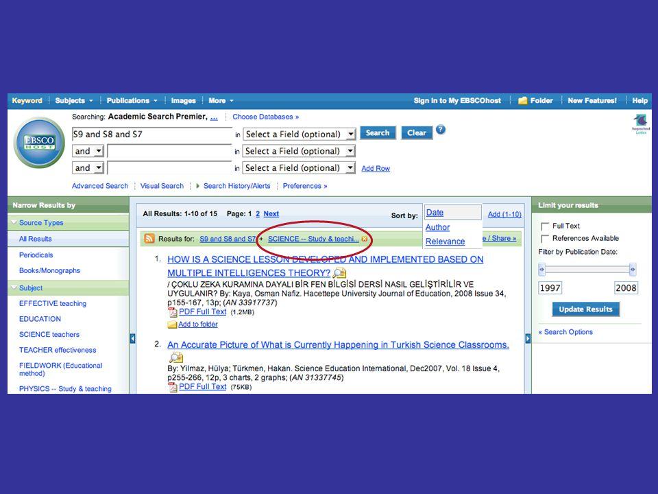De databank zoekt nu opnieuw en toont nu alleen nog de artikelen waar het door jou aangeklikte trefwoord aan is toegevoegd.