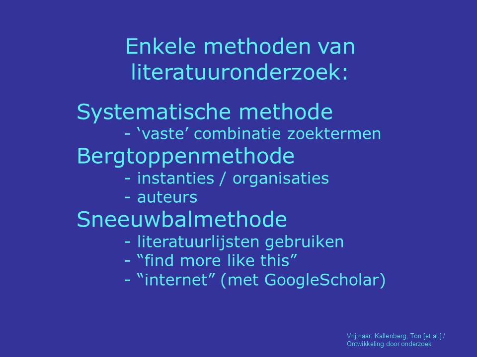 Enkele methoden van literatuuronderzoek: