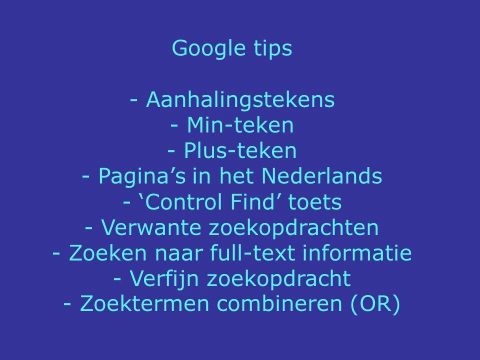 Pagina's in het Nederlands 'Control Find' toets