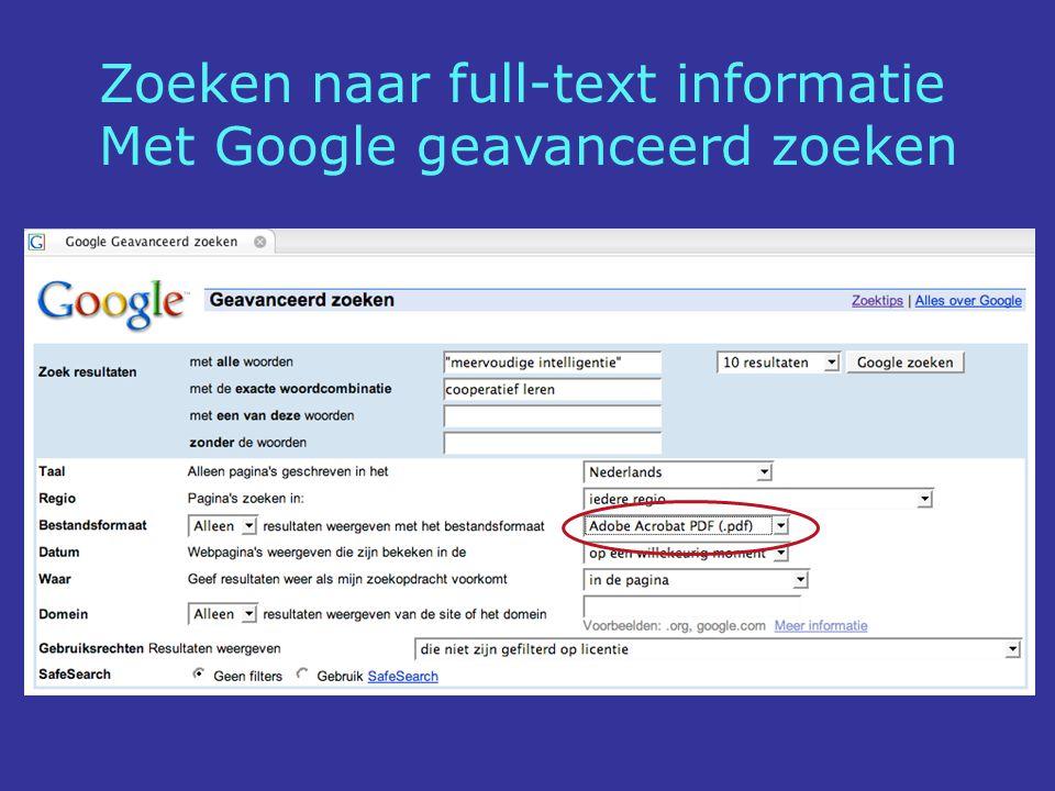Zoeken naar full-text informatie