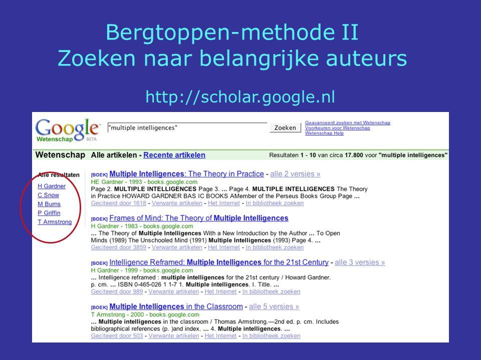 Bergtoppen-methode II Zoeken naar belangrijke auteurs