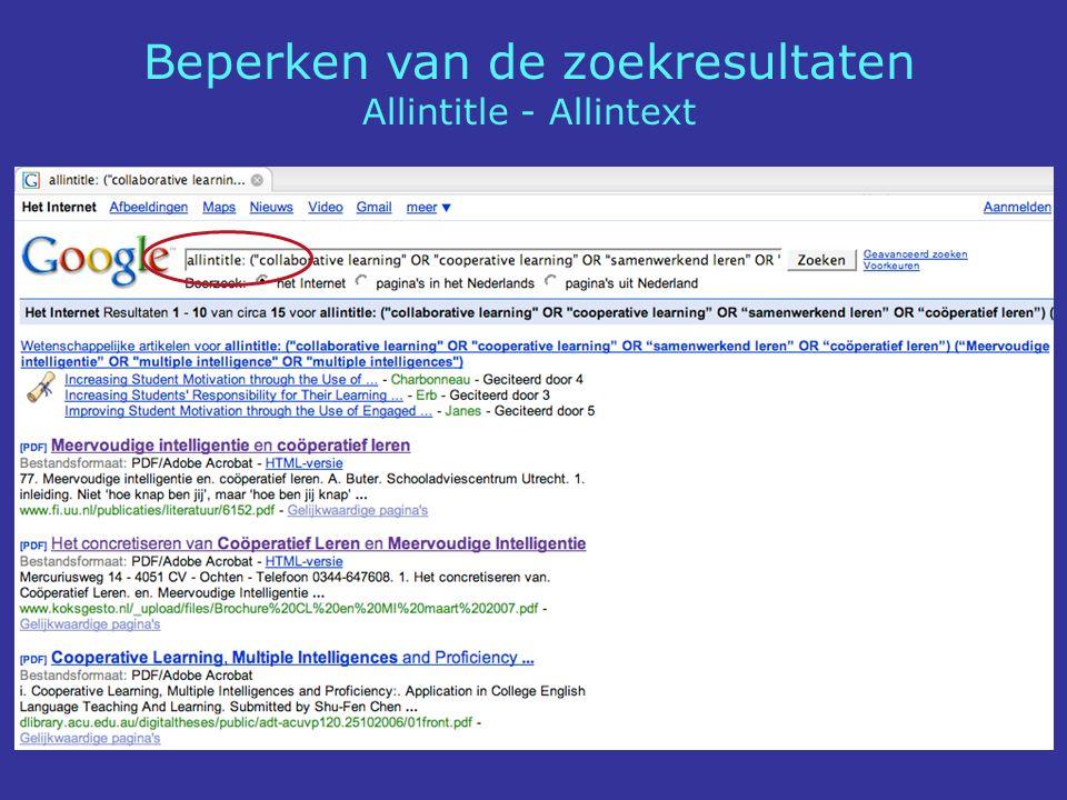 Beperken van de zoekresultaten